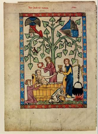 """Le bain - représentation médiévale de l'évacuation des """"superfluités"""", Lettre Histoire du XIIe (Aidez-moi à compléter la légende si vous reconnaissez ce manuscrit)"""