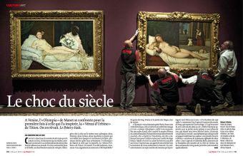 """L'olympia de Manet fac à la Vénus d'Urbino de Titien, extrait de """"Le Choc du siècle"""", Le Point"""
