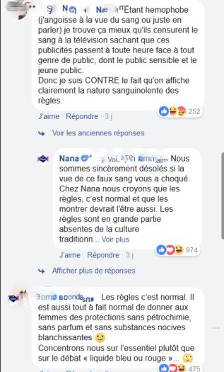 """Réactions d'internautes féminines suite à la campagnes publicitaires Nana """"les règles c'est normal"""""""