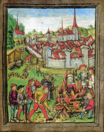 """Scène d'exécution extraite des Chroniques de """"Schilling of Lucerne"""" (1513), illustrant une femme/sorcière au bûcher à Willisau (Suisse) en 1447"""